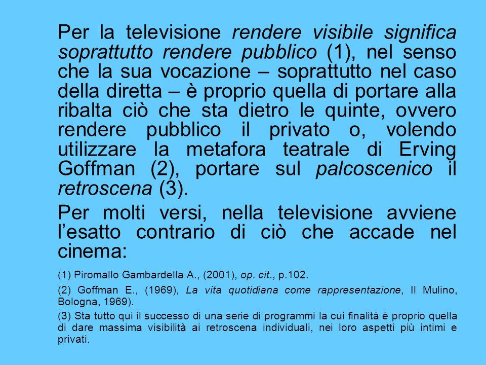 Per la televisione rendere visibile significa soprattutto rendere pubblico (1), nel senso che la sua vocazione – soprattutto nel caso della diretta –