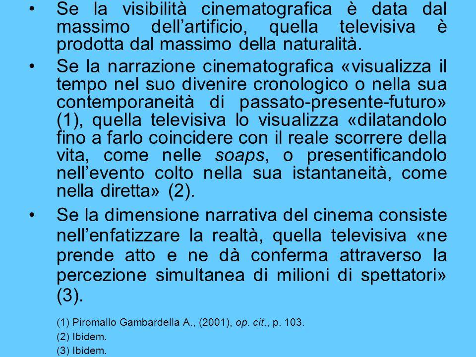 Se la visibilità cinematografica è data dal massimo dellartificio, quella televisiva è prodotta dal massimo della naturalità. Se la narrazione cinemat