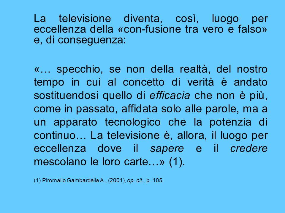 La televisione diventa, così, luogo per eccellenza della «con-fusione tra vero e falso» e, di conseguenza: «… specchio, se non della realtà, del nostr