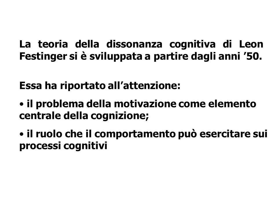 La teoria della dissonanza cognitiva di Leon Festinger si è sviluppata a partire dagli anni 50. Essa ha riportato allattenzione: il problema della mot