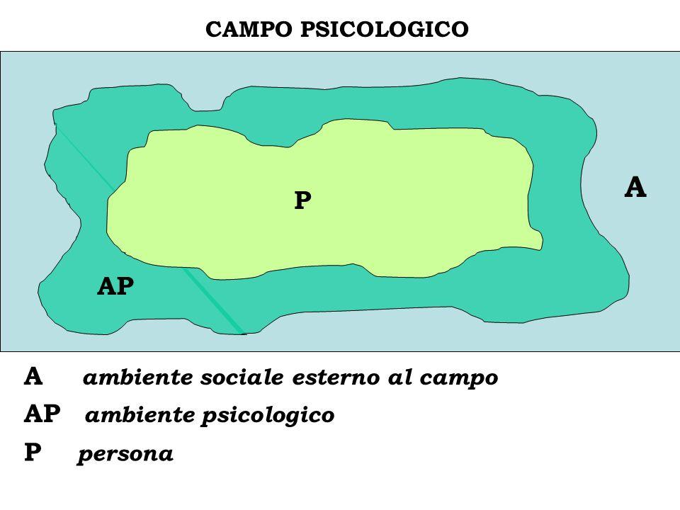 C CAMPO PSICOLOGICO A A ambiente sociale esterno al campo AP ambiente psicologico P persona AP P