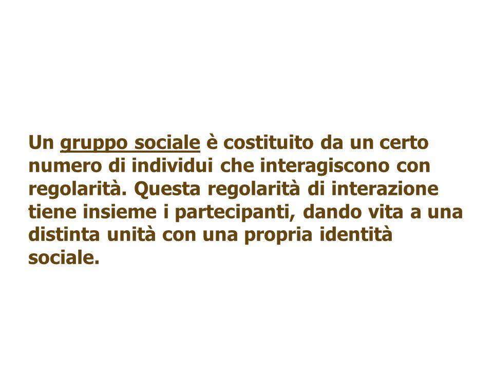 Un gruppo sociale è costituito da un certo numero di individui che interagiscono con regolarità. Questa regolarità di interazione tiene insieme i part