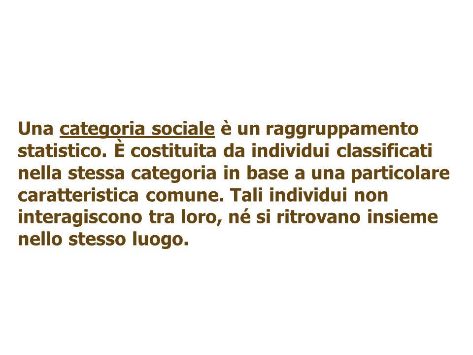 Una categoria sociale è un raggruppamento statistico. È costituita da individui classificati nella stessa categoria in base a una particolare caratter