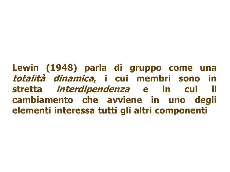 Lewin (1948) parla di gruppo come una totalità dinamica, i cui membri sono in stretta interdipendenza e in cui il cambiamento che avviene in uno degli