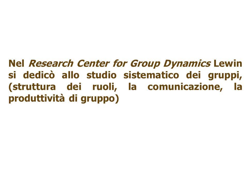 Nel Research Center for Group Dynamics Lewin si dedicò allo studio sistematico dei gruppi, (struttura dei ruoli, la comunicazione, la produttività di