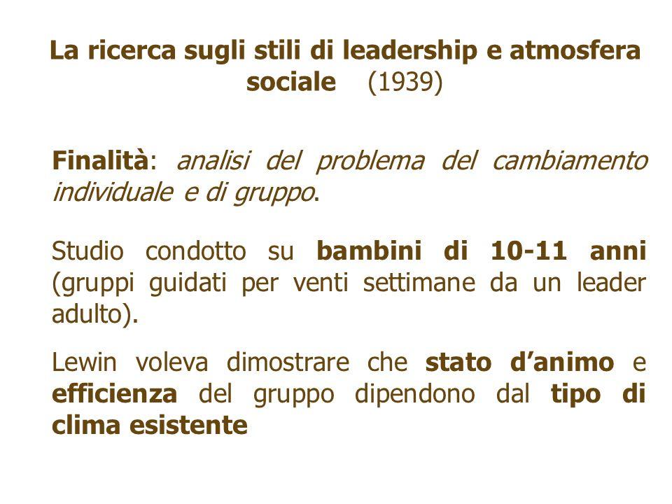 La ricerca sugli stili di leadership e atmosfera sociale (1939) Finalità: analisi del problema del cambiamento individuale e di gruppo. Studio condott