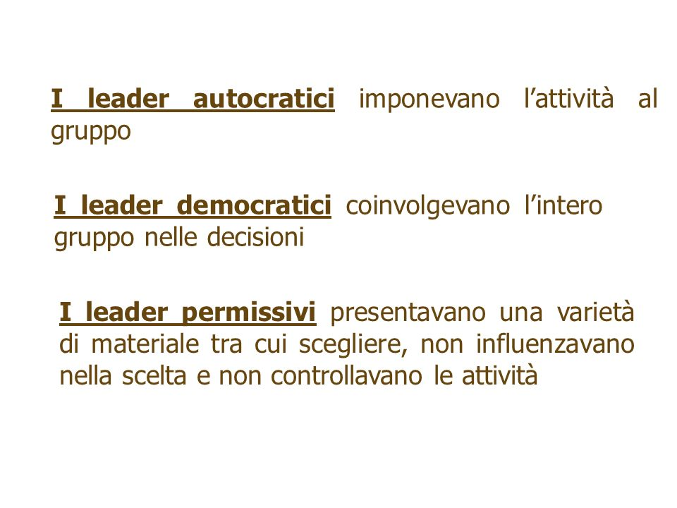 I leader autocratici imponevano lattività al gruppo I leader democratici coinvolgevano lintero gruppo nelle decisioni I leader permissivi presentavano