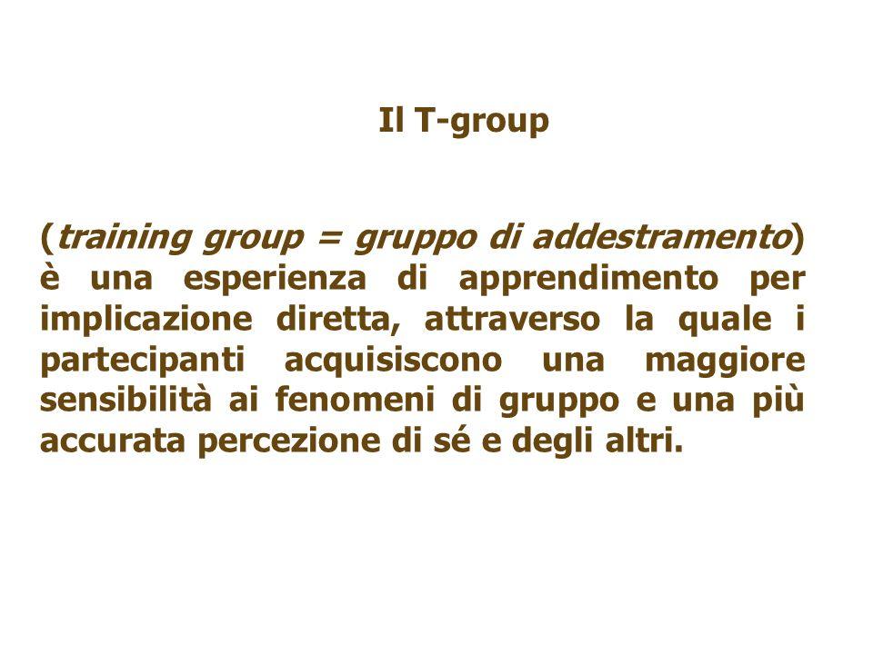 (training group = gruppo di addestramento) è una esperienza di apprendimento per implicazione diretta, attraverso la quale i partecipanti acquisiscono