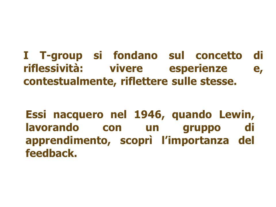I T-group si fondano sul concetto di riflessività: vivere esperienze e, contestualmente, riflettere sulle stesse. Essi nacquero nel 1946, quando Lewin