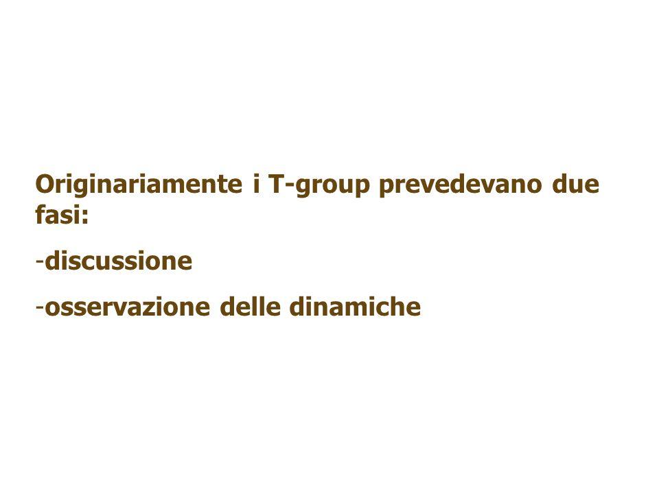 Originariamente i T-group prevedevano due fasi: -discussione -osservazione delle dinamiche