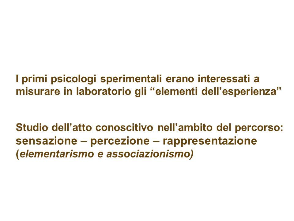 Studio dellatto conoscitivo nellambito del percorso: sensazione – percezione – rappresentazione (elementarismo e associazionismo) I primi psicologi sp
