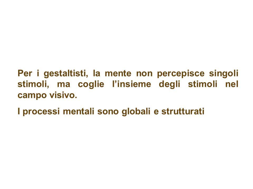 Per i gestaltisti, la mente non percepisce singoli stimoli, ma coglie linsieme degli stimoli nel campo visivo. I processi mentali sono globali e strut