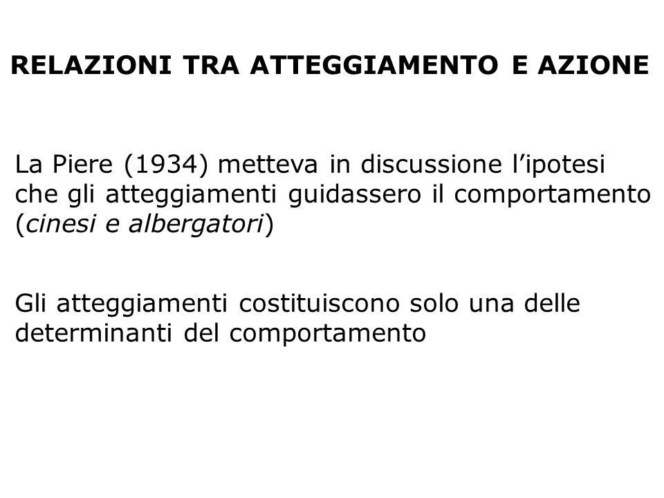 RELAZIONI TRA ATTEGGIAMENTO E AZIONE La Piere (1934) metteva in discussione lipotesi che gli atteggiamenti guidassero il comportamento (cinesi e alber