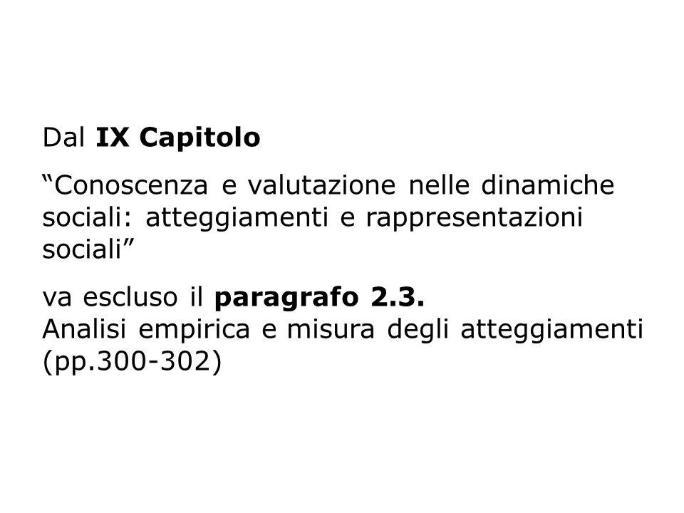 Dal IX Capitolo Conoscenza e valutazione nelle dinamiche sociali: atteggiamenti e rappresentazioni sociali va escluso il paragrafo 2.3. Analisi empiri