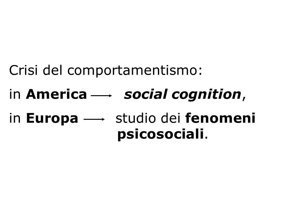 Crisi del comportamentismo: in America social cognition, in Europa studio dei fenomeni psicosociali.