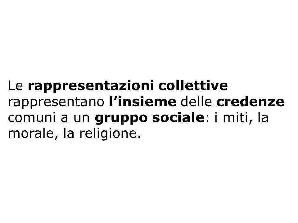Le rappresentazioni collettive rappresentano linsieme delle credenze comuni a un gruppo sociale: i miti, la morale, la religione.