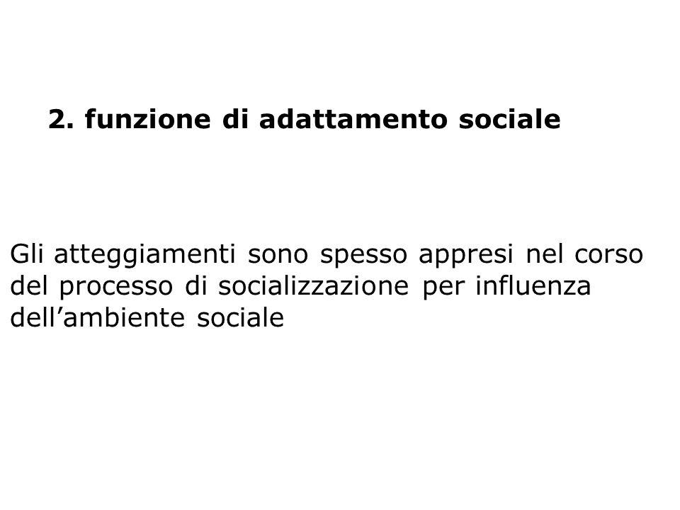 2. funzione di adattamento sociale Gli atteggiamenti sono spesso appresi nel corso del processo di socializzazione per influenza dellambiente sociale