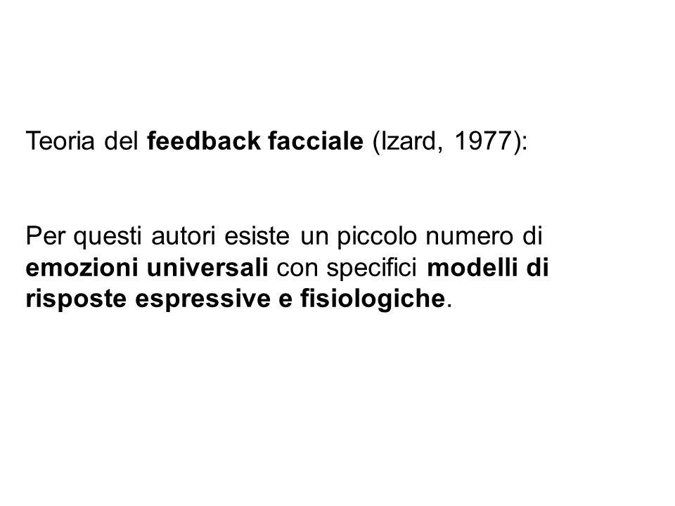 Teoria del feedback facciale (Izard, 1977): Per questi autori esiste un piccolo numero di emozioni universali con specifici modelli di risposte espres