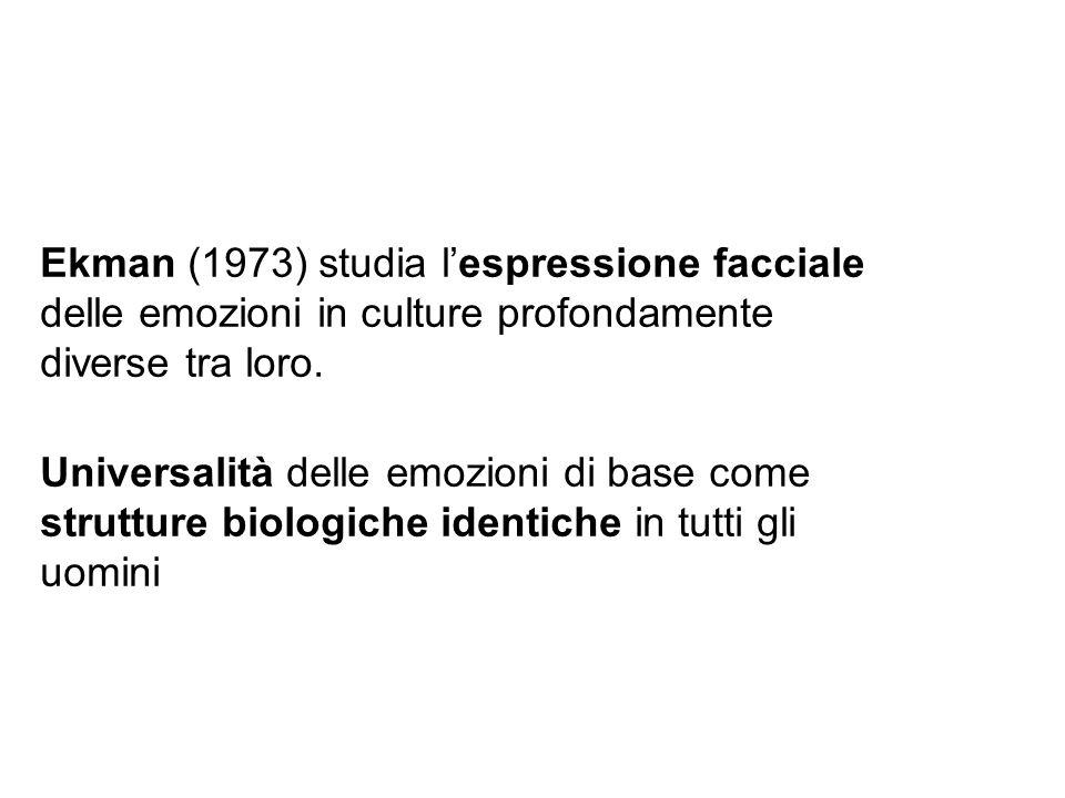 Ekman (1973) studia lespressione facciale delle emozioni in culture profondamente diverse tra loro. Universalità delle emozioni di base come strutture
