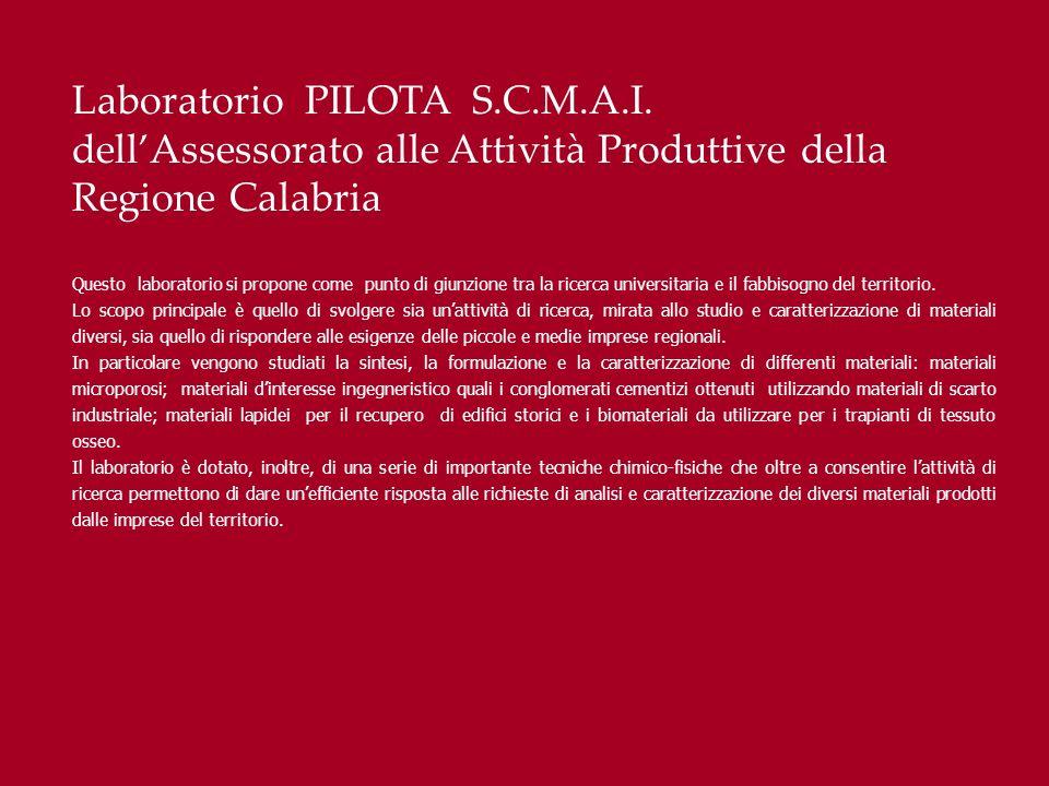Laboratorio PILOTA S.C.M.A.I. dellAssessorato alle Attività Produttive della Regione Calabria Questo laboratorio si propone come punto di giunzione tr