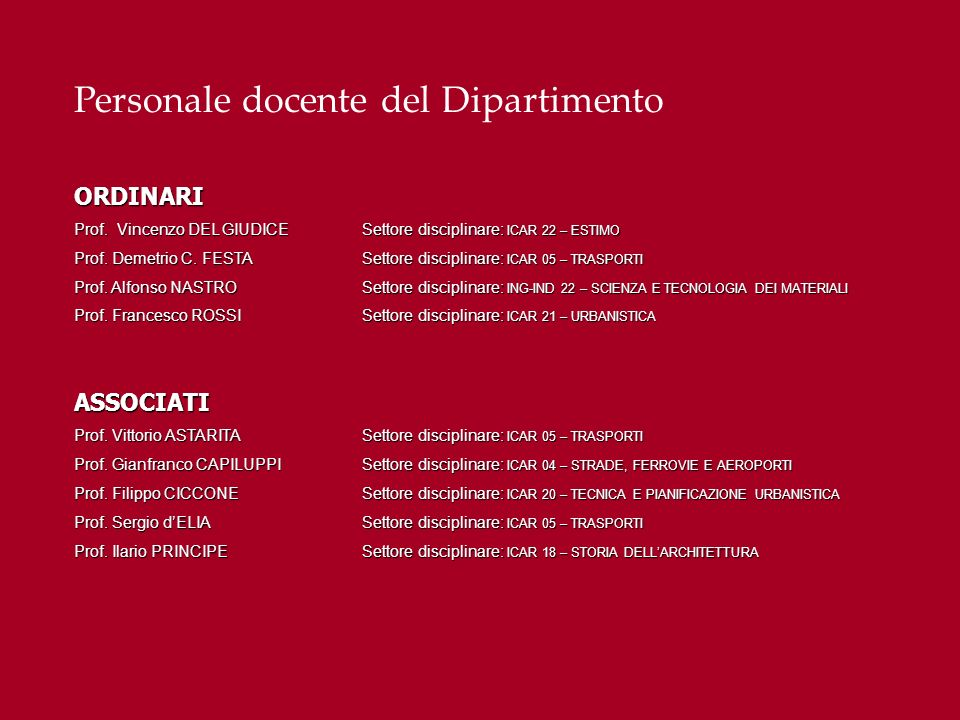 Personale docente del DipartimentoRICERCATORI Ing.