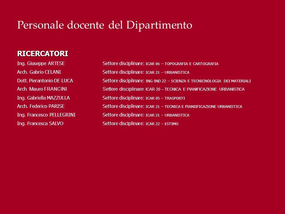 Personale docente del DipartimentoRICERCATORI Ing. Giuseppe ARTESESettore disciplinare: ICAR 06 – TOPOGRAFIA E CARTOGRAFIA Arch. Gabrio CELANISettore