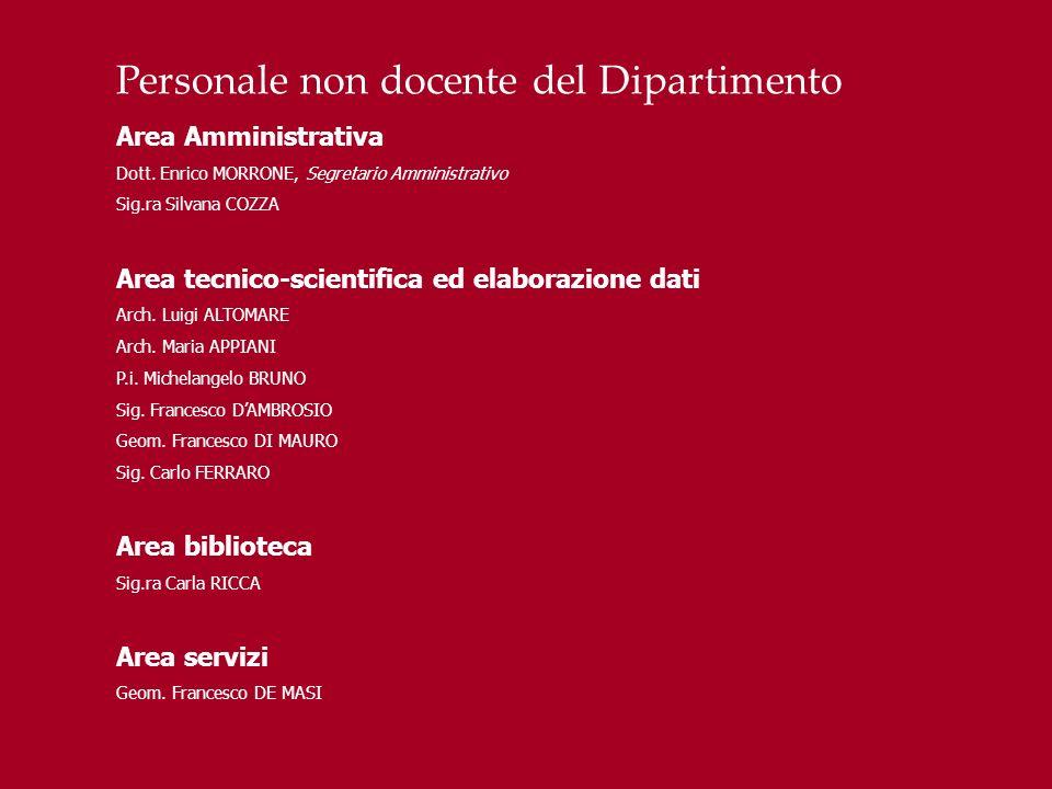 Personale non docente del Dipartimento Area Amministrativa Dott. Enrico MORRONE, Segretario Amministrativo Sig.ra Silvana COZZA Area tecnico-scientifi