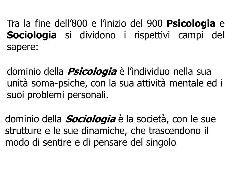 Tra la fine dell800 e linizio del 900 Psicologia e Sociologia si dividono i rispettivi campi del sapere: dominio della Psicologia è lindividuo nella s