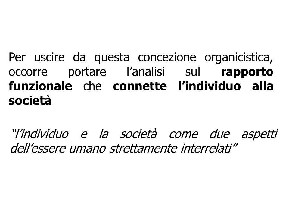 Per uscire da questa concezione organicistica, occorre portare lanalisi sul rapporto funzionale che connette lindividuo alla società lindividuo e la s