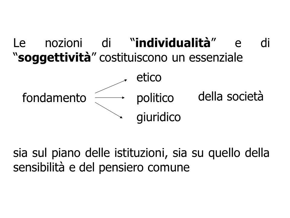 Le nozioni di individualità e disoggettività costituiscono un essenziale fondamento etico giuridico politico della società sia sul piano delle istituz