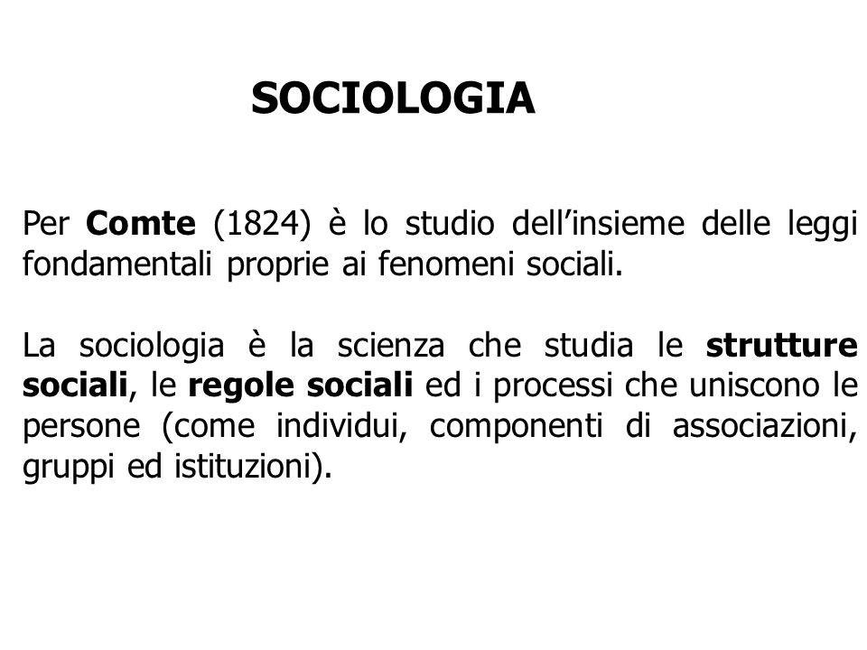 Per Comte (1824) è lo studio dellinsieme delle leggi fondamentali proprie ai fenomeni sociali. La sociologia è la scienza che studia le strutture soci