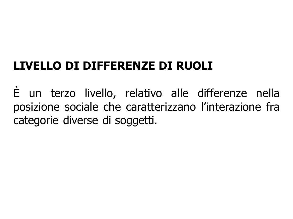 LIVELLO DI DIFFERENZE DI RUOLI È un terzo livello, relativo alle differenze nella posizione sociale che caratterizzano linterazione fra categorie dive
