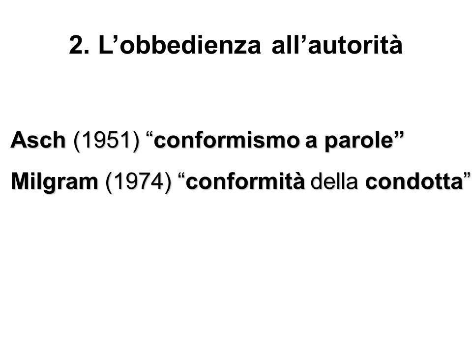 Asch (1951) conformismo a parole Milgram (1974) conformità della condotta 2. Lobbedienza allautorità