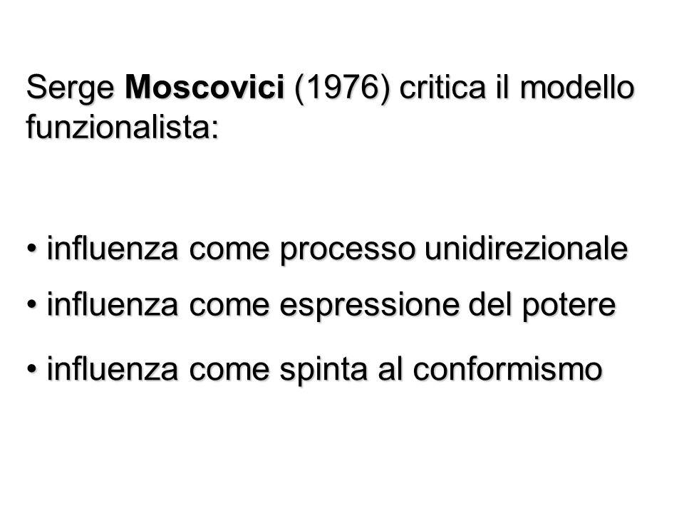 Serge Moscovici (1976) critica il modello funzionalista: influenza come processo unidirezionale influenza come processo unidirezionale influenza come espressione del potere influenza come espressione del potere influenza come spinta al conformismo influenza come spinta al conformismo