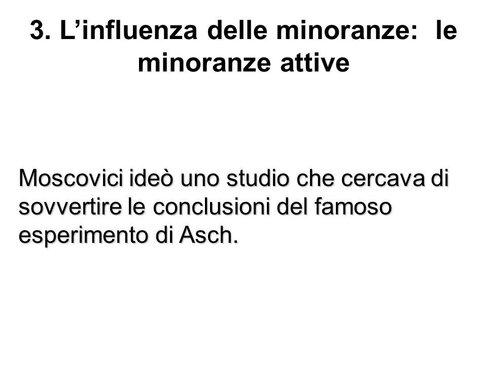 3. Linfluenza delle minoranze: le minoranze attive Moscovici ideò uno studio che cercava di sovvertire le conclusioni del famoso esperimento di Asch.