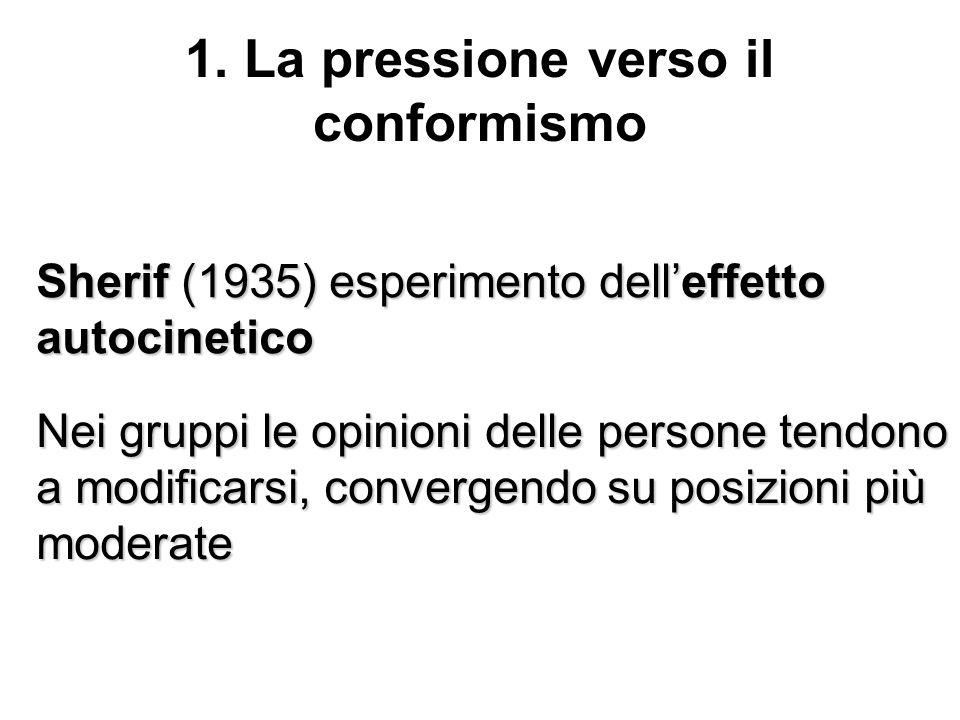 1. La pressione verso il conformismo Sherif (1935) esperimento delleffetto autocinetico Nei gruppi le opinioni delle persone tendono a modificarsi, co