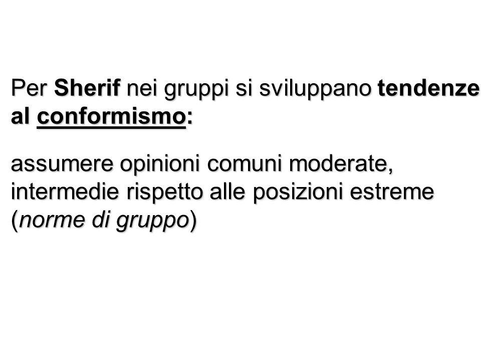 Per Sherif nei gruppi si sviluppano tendenze al conformismo: assumere opinioni comuni moderate, intermedie rispetto alle posizioni estreme (norme di gruppo)