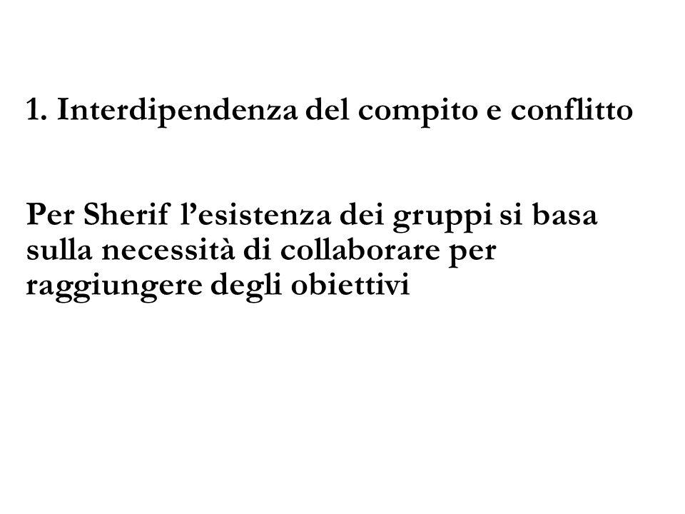 1. Interdipendenza del compito e conflitto Per Sherif lesistenza dei gruppi si basa sulla necessità di collaborare per raggiungere degli obiettivi