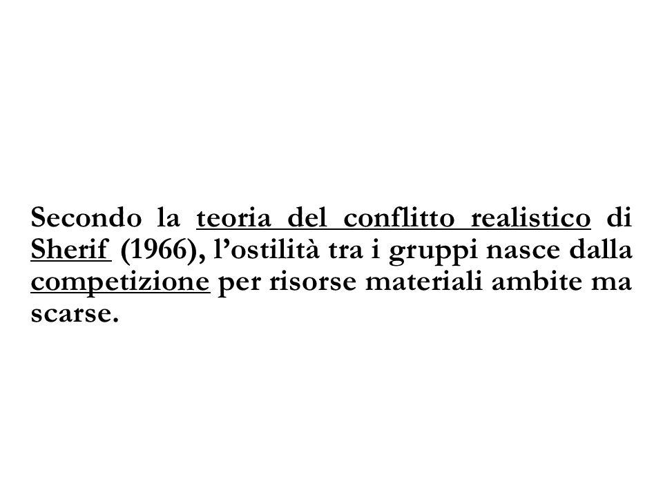 Secondo la teoria del conflitto realistico di Sherif (1966), lostilità tra i gruppi nasce dalla competizione per risorse materiali ambite ma scarse.