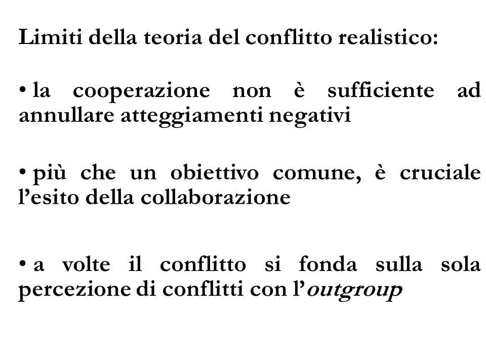 Limiti della teoria del conflitto realistico: la cooperazione non è sufficiente ad annullare atteggiamenti negativi più che un obiettivo comune, è cru