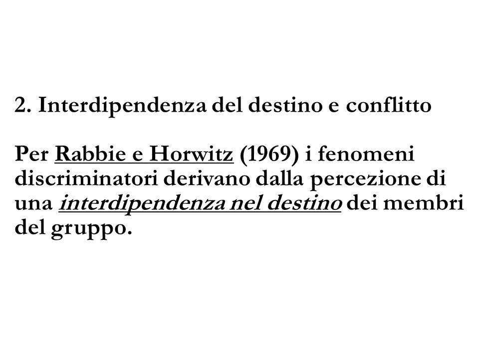 2. Interdipendenza del destino e conflitto Per Rabbie e Horwitz (1969) i fenomeni discriminatori derivano dalla percezione di una interdipendenza nel