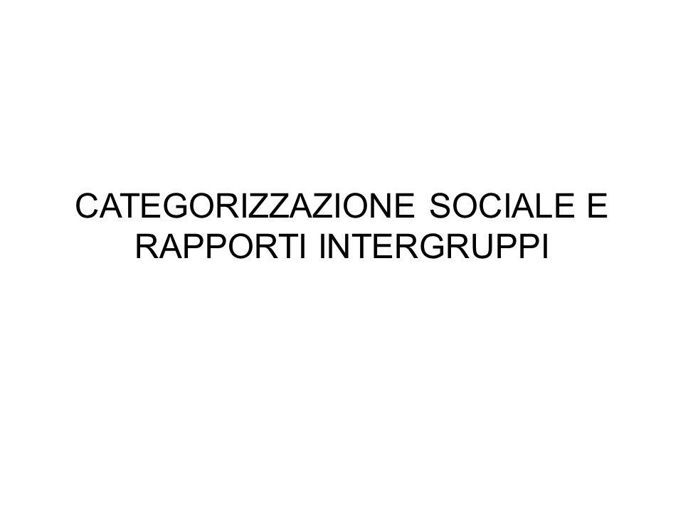 CATEGORIZZAZIONE SOCIALE E RAPPORTI INTERGRUPPI