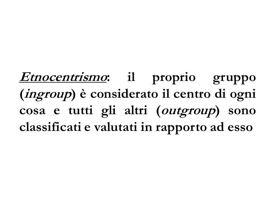 Etnocentrismo: il proprio gruppo (ingroup) è considerato il centro di ogni cosa e tutti gli altri (outgroup) sono classificati e valutati in rapporto