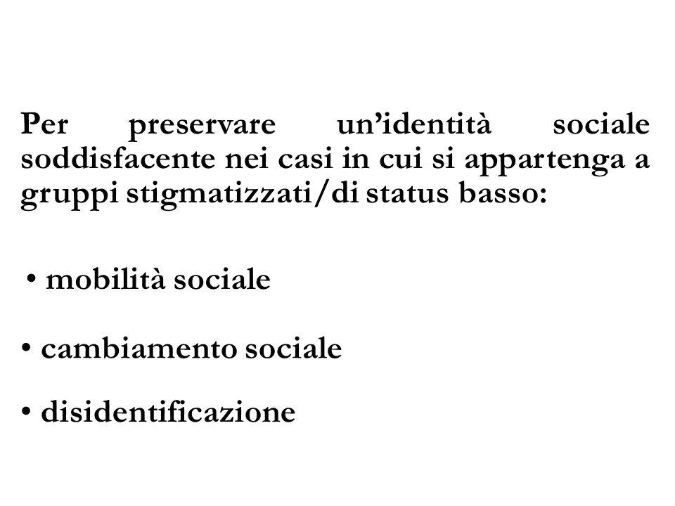 Per preservare unidentità sociale soddisfacente nei casi in cui si appartenga a gruppi stigmatizzati/di status basso: mobilità sociale cambiamento soc