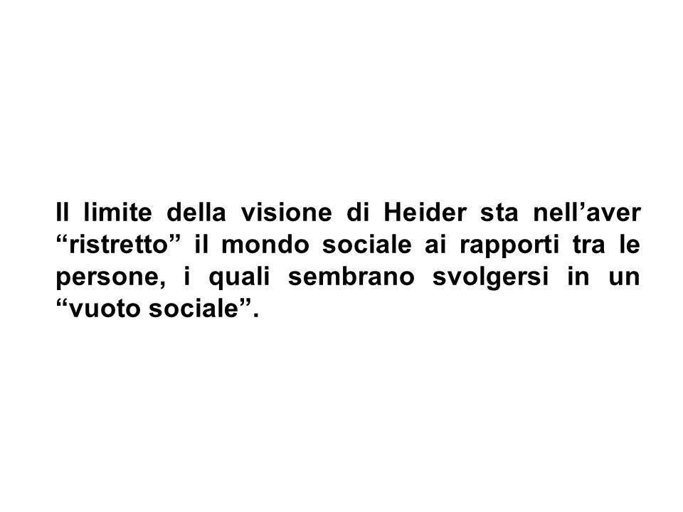 Il limite della visione di Heider sta nellaver ristretto il mondo sociale ai rapporti tra le persone, i quali sembrano svolgersi in un vuoto sociale.