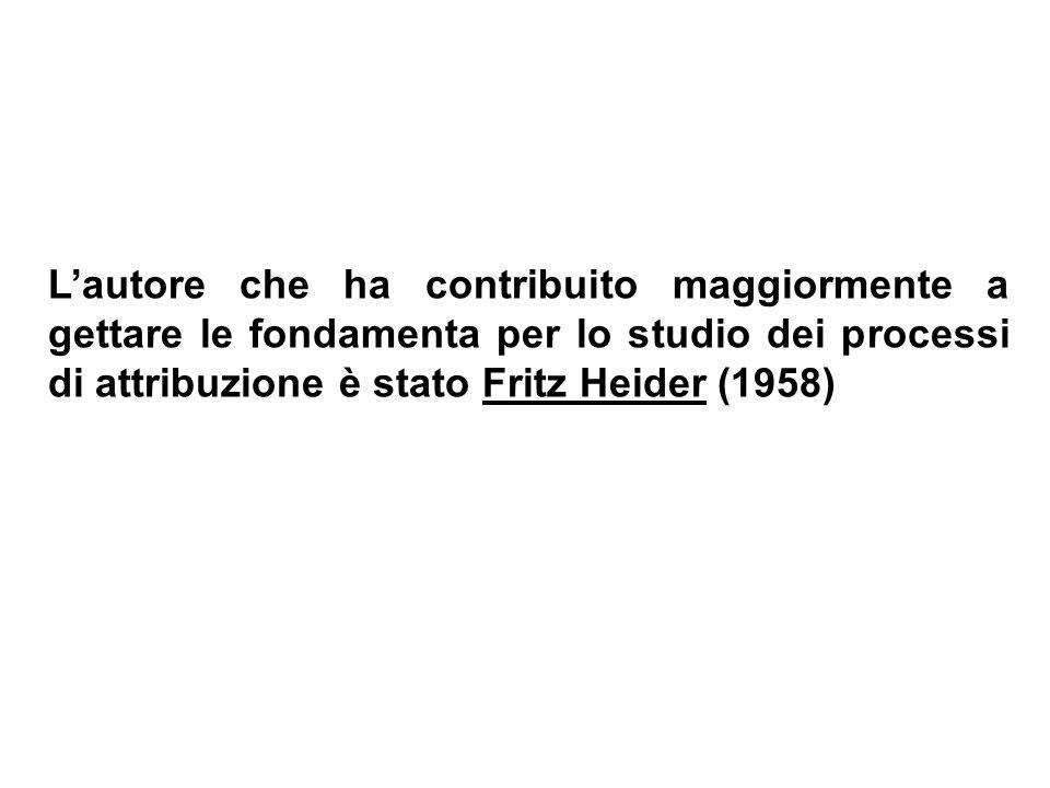 Lautore che ha contribuito maggiormente a gettare le fondamenta per lo studio dei processi di attribuzione è stato Fritz Heider (1958)