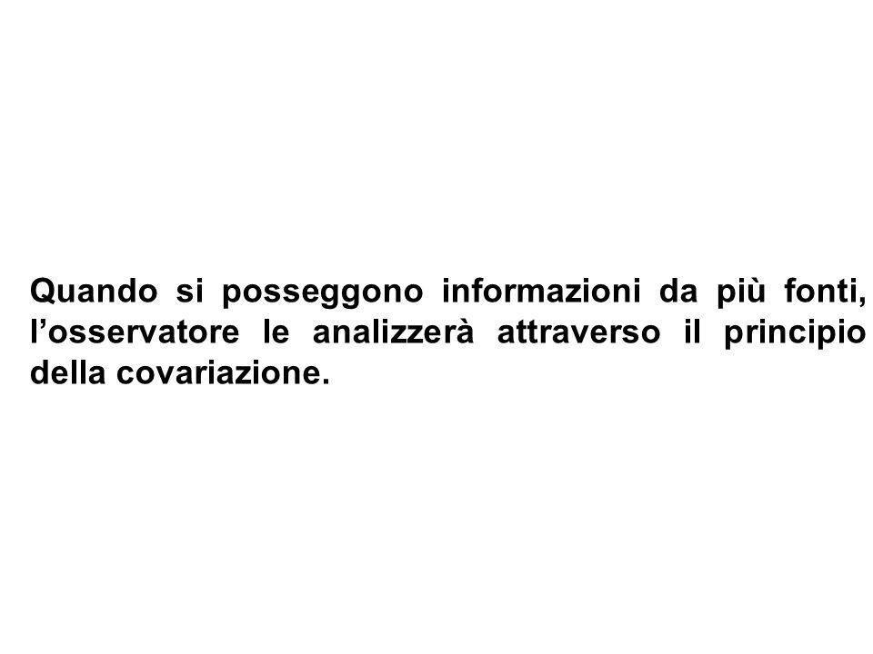 Quando si posseggono informazioni da più fonti, losservatore le analizzerà attraverso il principio della covariazione.