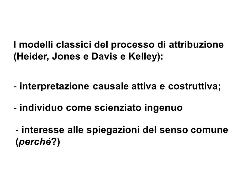 I modelli classici del processo di attribuzione (Heider, Jones e Davis e Kelley): - interpretazione causale attiva e costruttiva; - individuo come sci