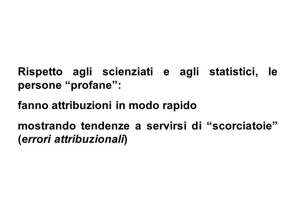 Rispetto agli scienziati e agli statistici, le persone profane: fanno attribuzioni in modo rapido mostrando tendenze a servirsi di scorciatoie (errori