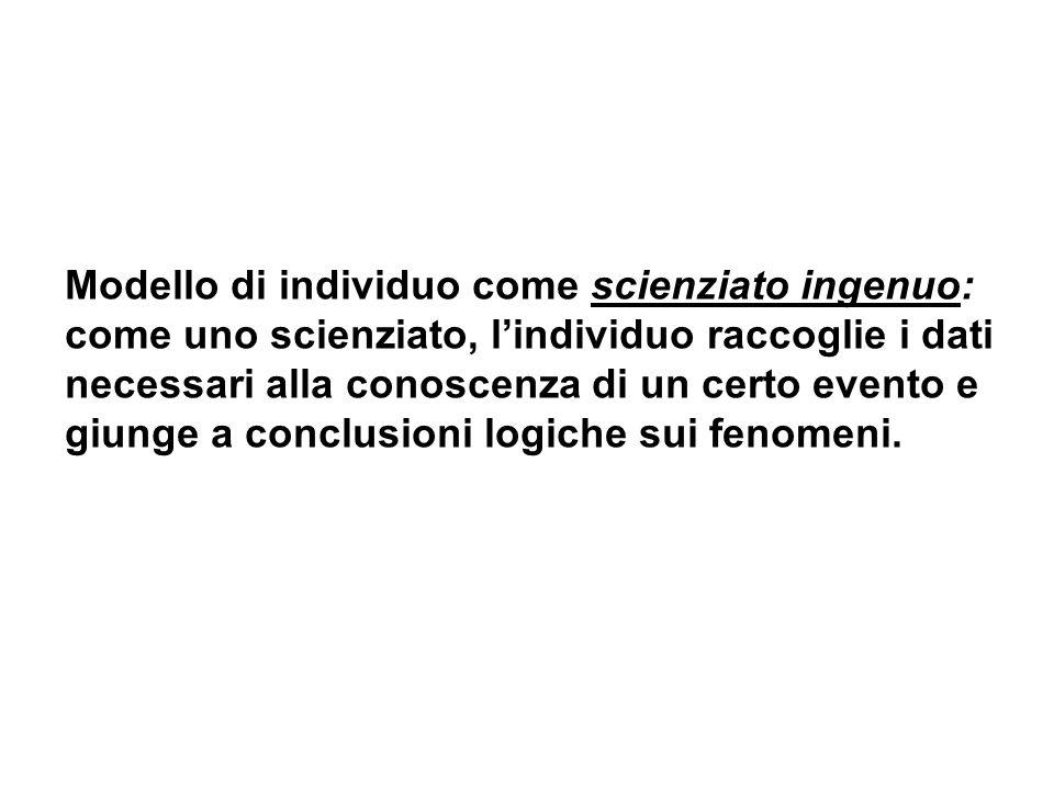 Modello di individuo come scienziato ingenuo: come uno scienziato, lindividuo raccoglie i dati necessari alla conoscenza di un certo evento e giunge a